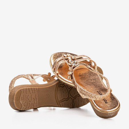 Pink - gold women's sandals with Crisela crystals - Footwear 1