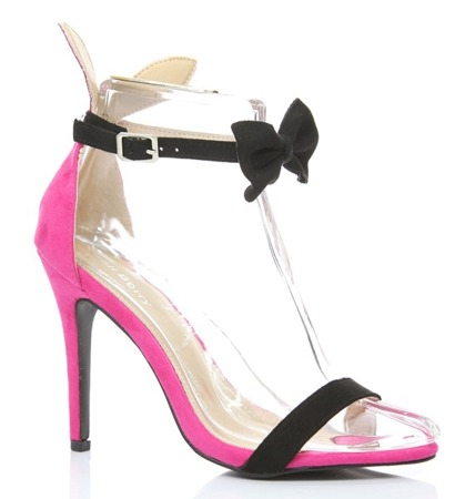 Pink sandals with a black Rokarde bow - Footwear