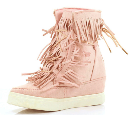 Pink sneakers with fringes on the Kennedy wedge heel - Footwear 1