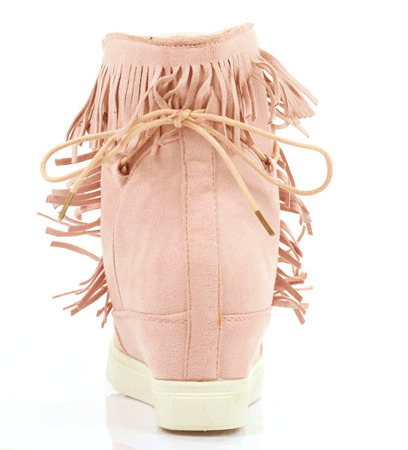 Pink sneakers with fringes on the Kennedy wedge heel - Footwear 1