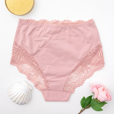 Pink women's panties with lace PLUS SIZE - Underwear