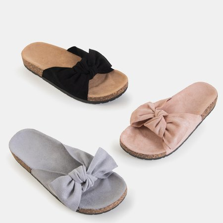 Powder pink women's slippers with a Sun and Fun bow - Footwear