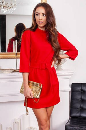 Red dress with a belt - Clothing