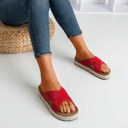Red flip-flops on the platform with zircons Zarina - Footwear 1