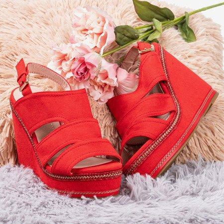 Red sandals on the wedge Boneta - Footwear 1