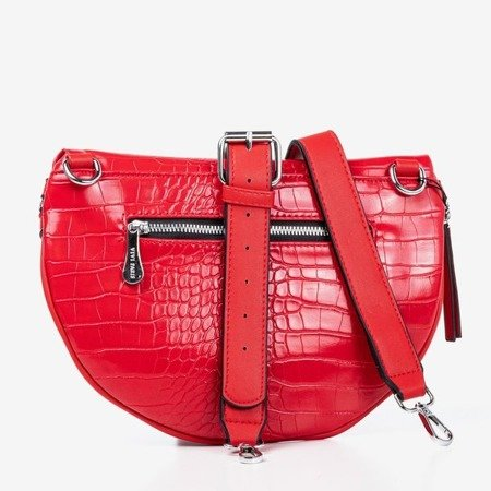 Red small kidney bag with animal embossing - Bags