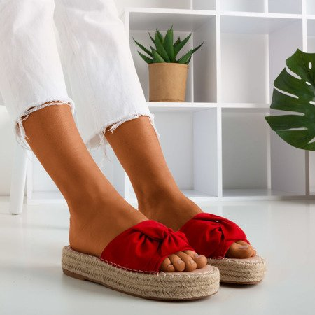 Red women's slippers on the Baby Bow platform - Footwear 1