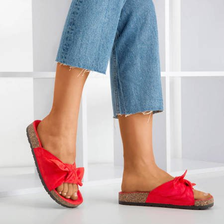 Red women's slippers with a bow Sun and Fun - Footwear 1