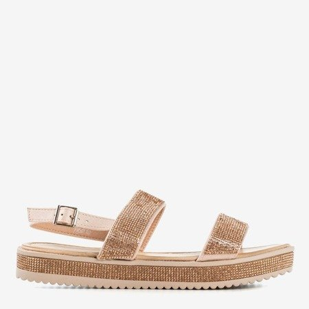 Rose-gold women's sandals with zircons Arella - Footwear 1