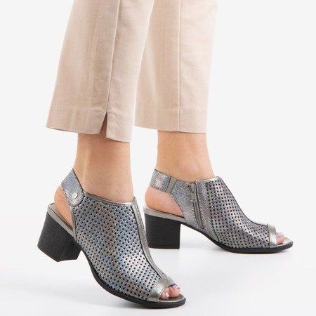Silver openwork sandals on the post Katina - Footwear 1