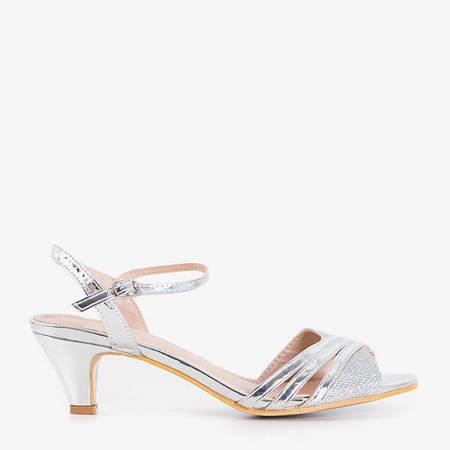 Silver women's sandals with low heels Fererre - Shoes