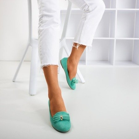 Turquoise ballerinas with Fralise decoration - Footwear 1
