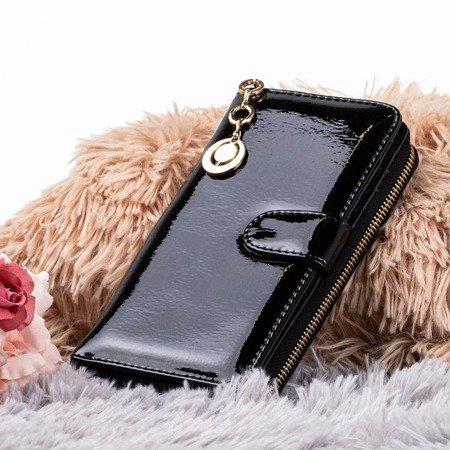 Varnished large women's wallet in black - Wallet 1
