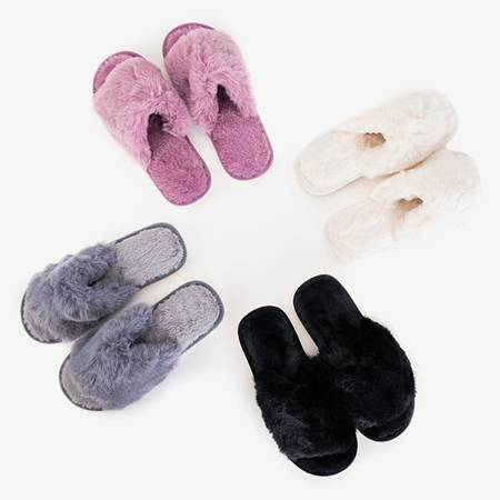 Violet women's slippers with fur Novita - Footwear