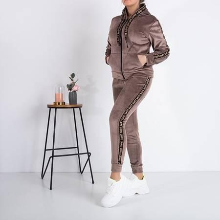 Warm women's brown sweatshirt set with stripes - Clothing