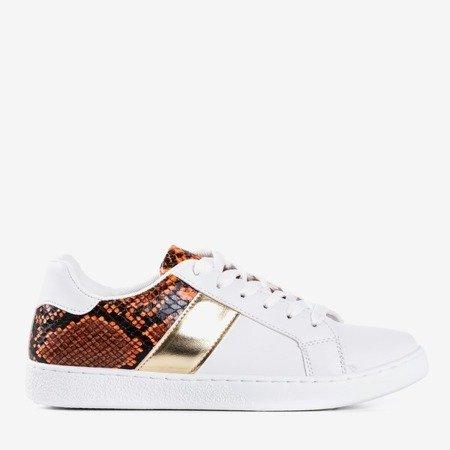 White and orange women's sneakers a'la snake skin Clastie - Footwear
