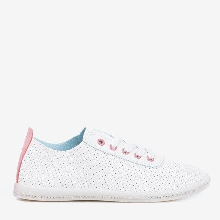 White openwork sneakers with a pink insert Jasenia - Footwear 1