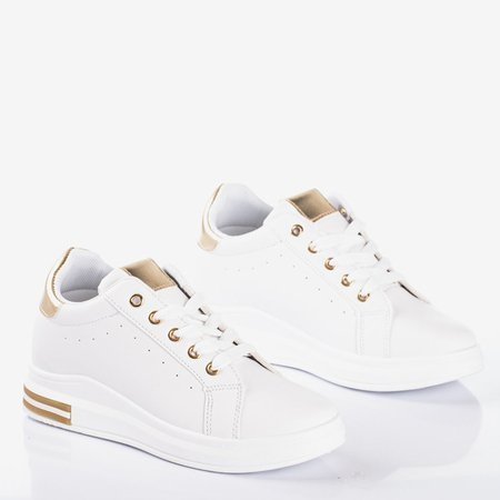 White sports shoes on an indoor wedge with gold Sliomena inserts - Footwear 1