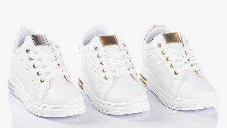 White sports shoes on an indoor wedge with silver Sliomena inserts - Footwear 1