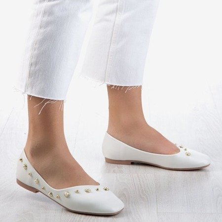 White women's ballerinas with Lovilla pearls - Footwear 1