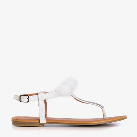 White women's sandals with Begneti ornaments - Footwear