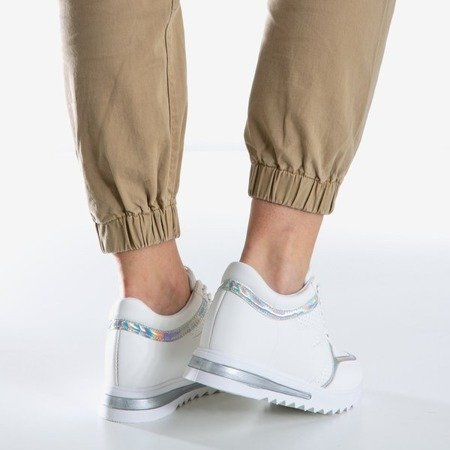 White women's sneakers on an indoor wedge Wink Wink - Footwear 1