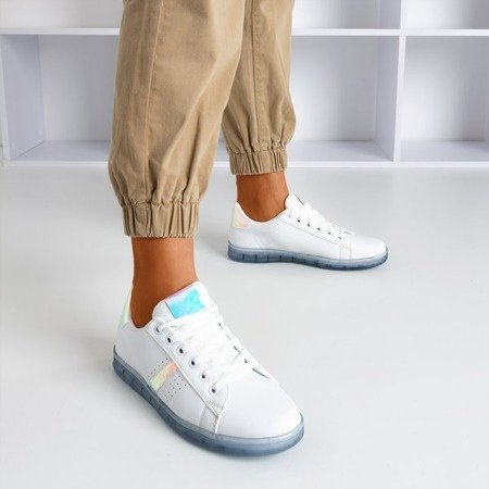 White women's sneakers with Domera holographic insert - Footwear 1