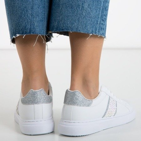White women's sports sneakers with silver inserts Hypnosis - Footwear 1