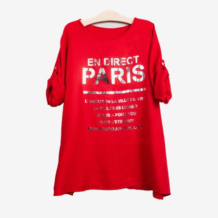 Women's red tunic with inscriptions - Blouses 1