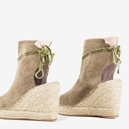Women's sandals with a khaki upper Unique One - Footwear 1