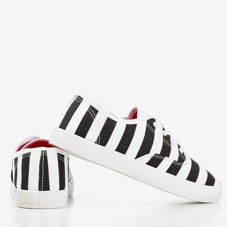 Women's Black Seashell Striped Sneakers - Footwear