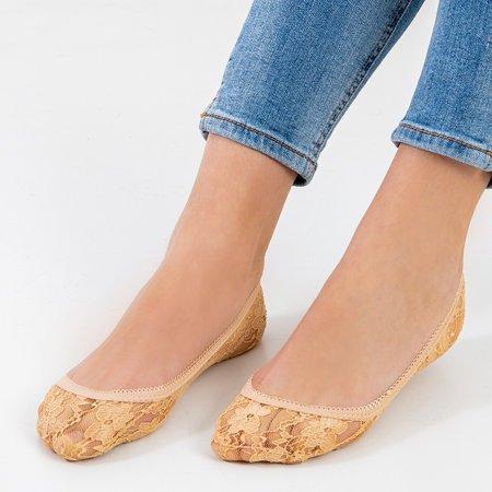 Women's beige lace ballerinas feet - Socks