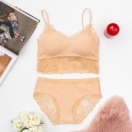 Women's beige lingerie set with lace - Underwear