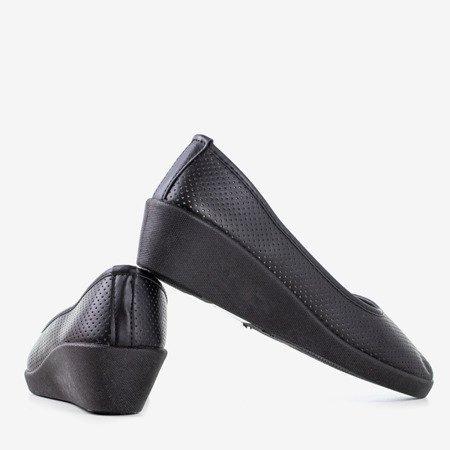 Women's black ballerinas on low wedge Bethel - Shoes 1