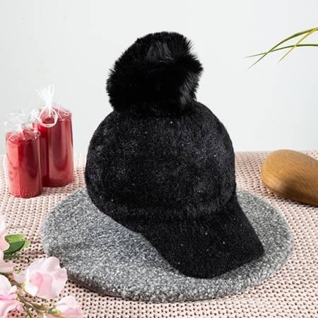 Women's black cap with a pompom - Caps