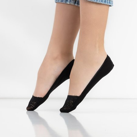 Women's black lace ballerinas feet - Socks