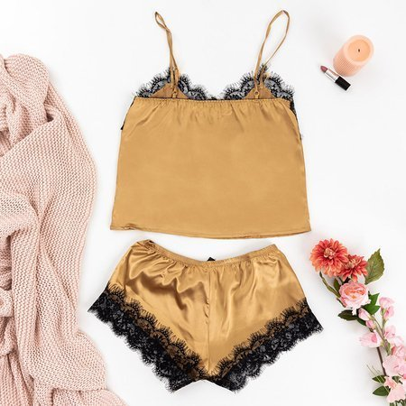 Women's golden pajamas with lace - Clothing