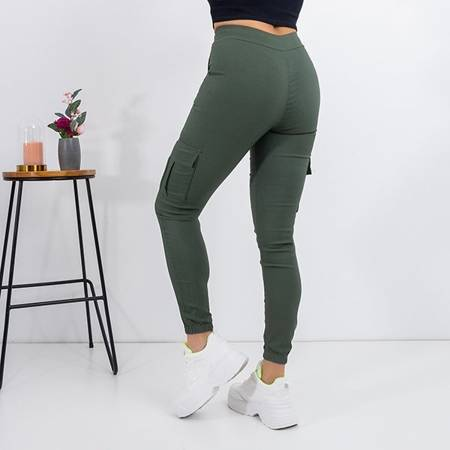 Women's green cargo pants with pockets - Trousers