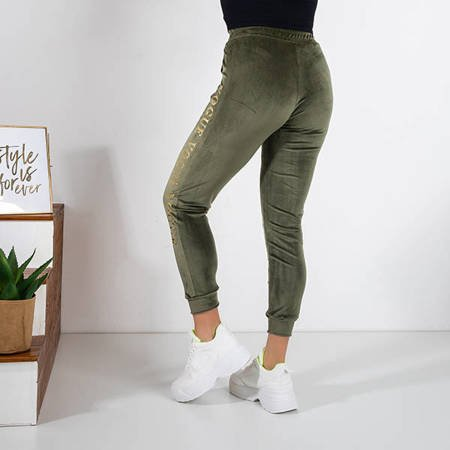 Women's green sweatpants with inscriptions - Clothing
