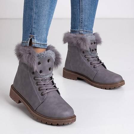 Women's light gray boots with fur Zendalia - Footwear