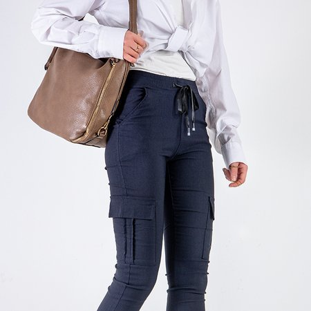 Women's navy blue cargo pants with pockets - Trousers
