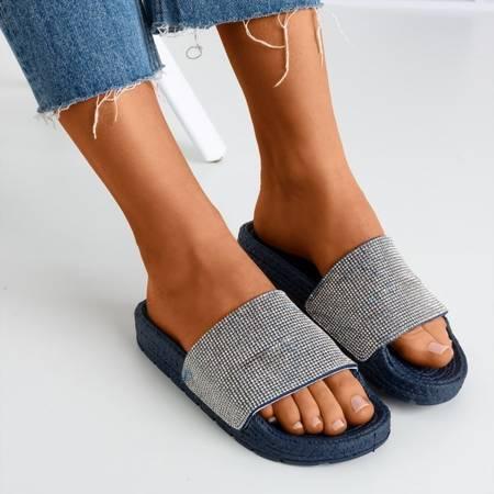 Women's navy blue slippers with cubic zirconia Blink Blink - Footwear