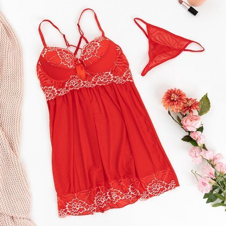 Women's red petticoat with lace inserts - Underwear
