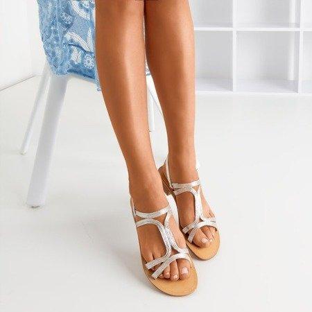 Women's silver low-heeled sandals Treunia - Footwear
