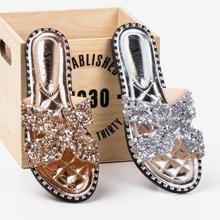Women's silver sequin slippers Hemessa - Footwear