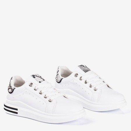 Women's white sneakers a'la snake skin Solesca - Footwear
