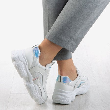 Women's white sneakers with holographic inserts Clessta - Footwear