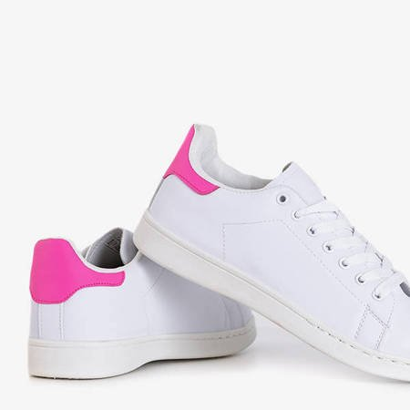 Women's white sneakers with pink Magnolina inserts - Footwear