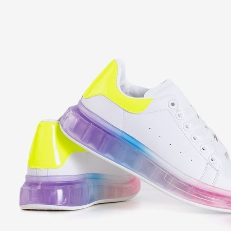 Women's white sports shoes with a colorful Palmer sole - Footwear