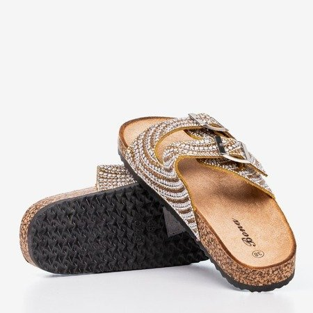Yellow - gold slippers with cubic zirconia Summer Star - Footwear